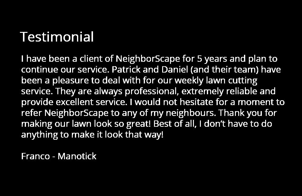 lawn care testimonial