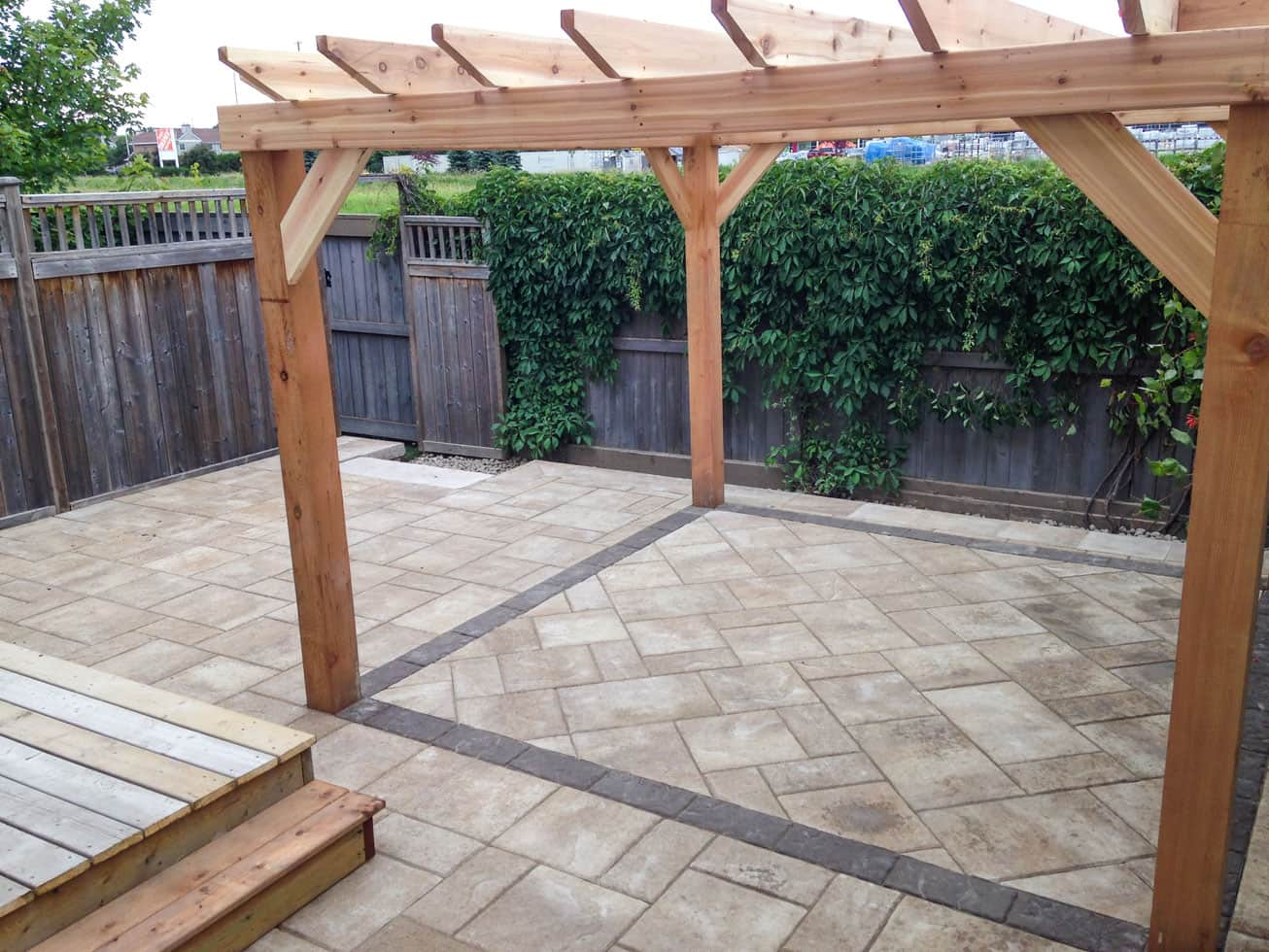 interlock patio with wooden pergola