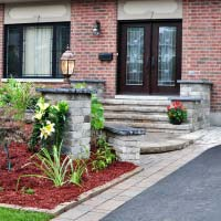 front yard interlock stairs