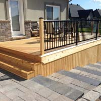 interlock patio and wooden deck