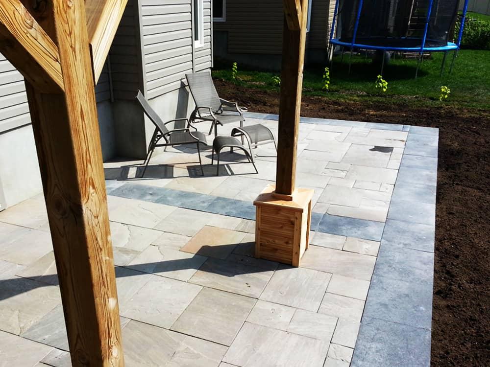 interlock stone back patio
