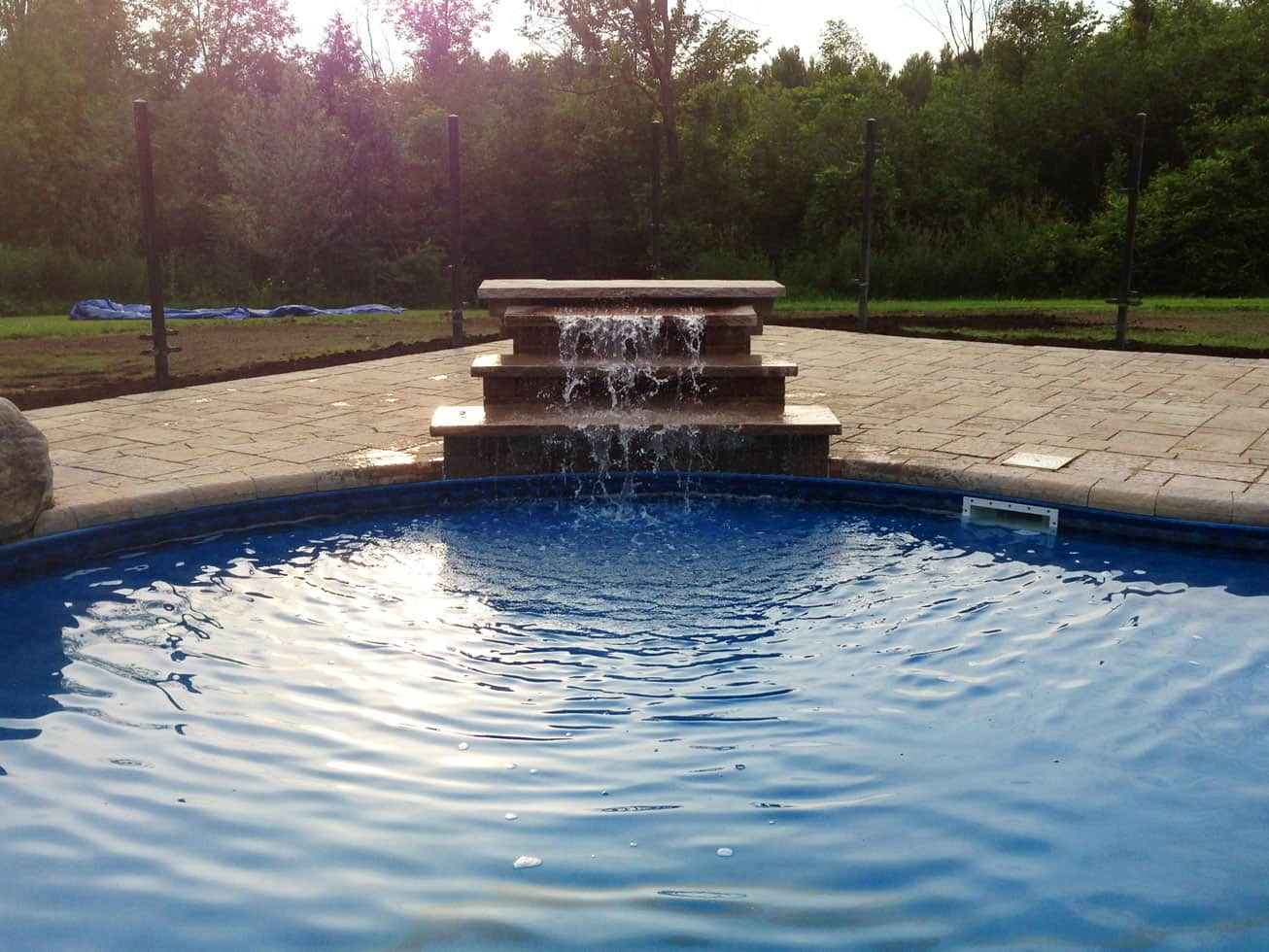 outdoor pool stone feature