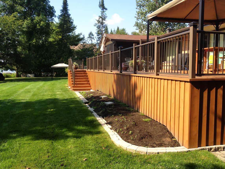 wooden outdoor back deck
