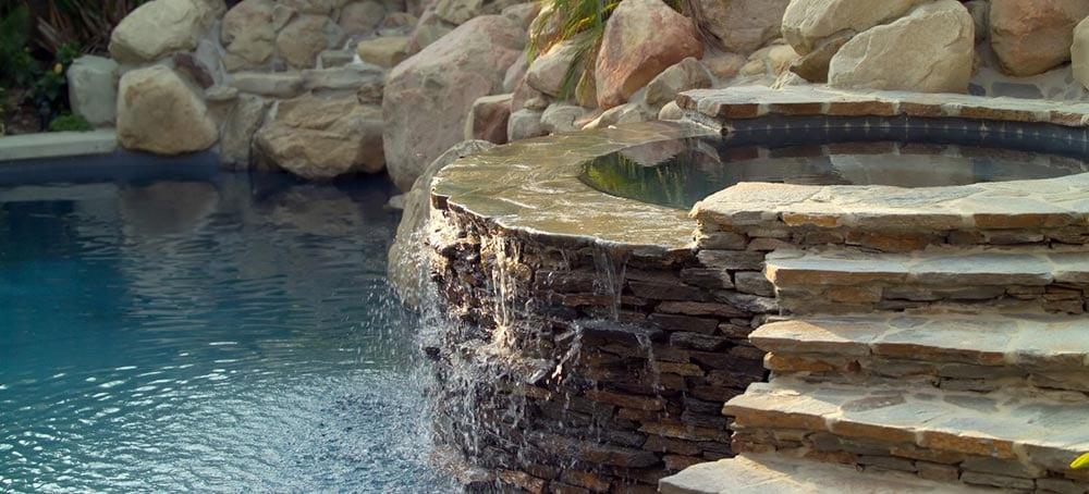Backyard Hot Tub Fountain Pool